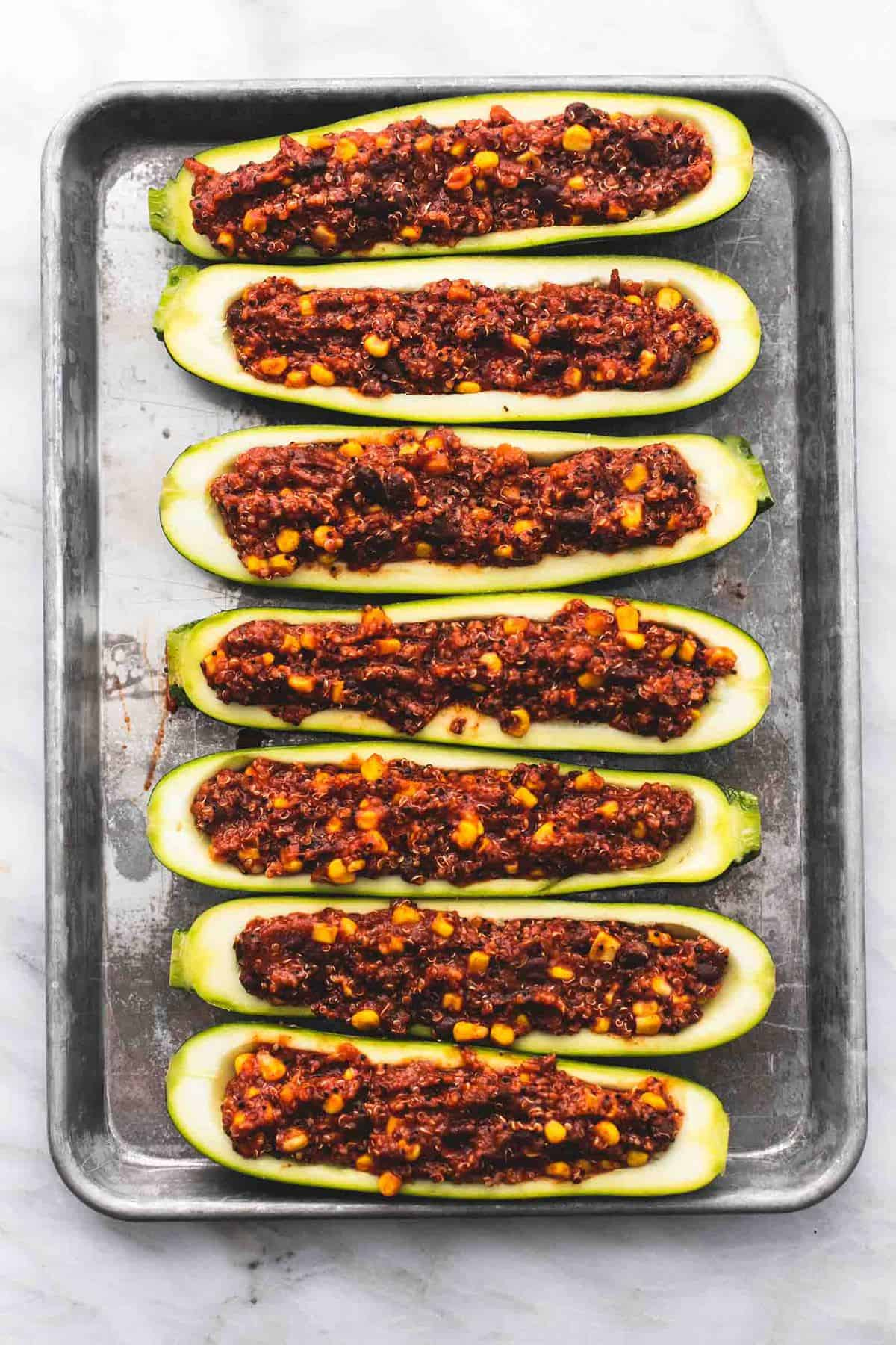 Enchilada Quinoa Stuffed Zucchini Boats easy healthy recipe | lecremedelacrumb.com