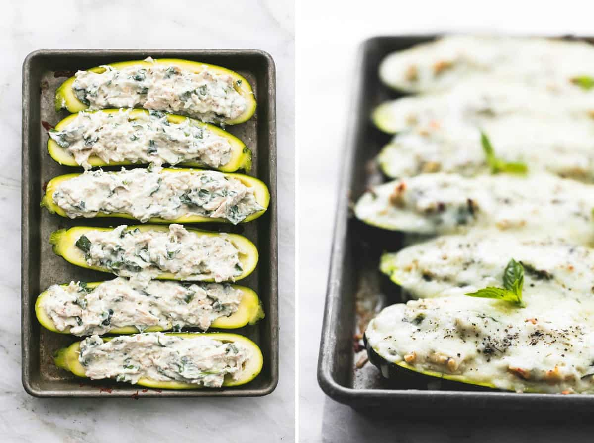White Chicken Lasagna Stuffed Zucchini Boats easy healthy recipe | lecremedelacrumb.com
