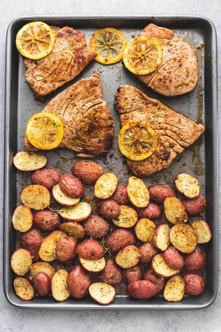 Sheet Pan Lemon Herb Tuna Steaks and Potatoes